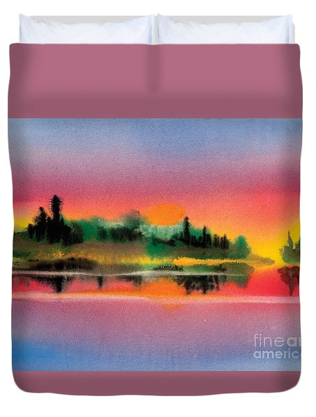 Duvet Cover featuring the painting Sunset by Teresa Ascone