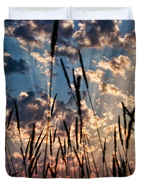 Duvet Cover featuring the photograph Sunset Through The Grasses by Don Schwartz
