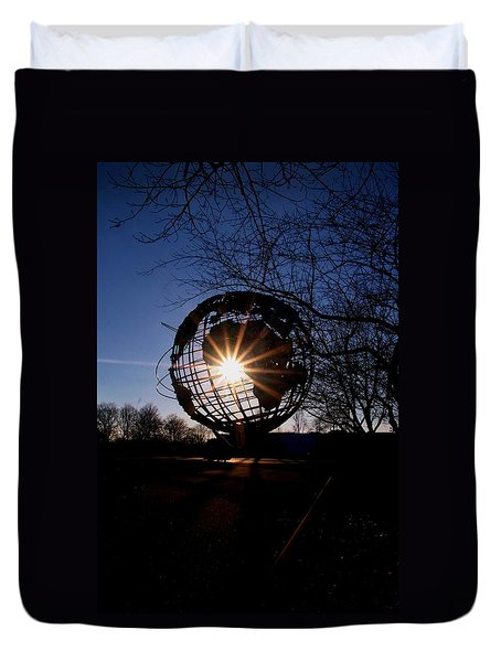 Sunset Through The Unisphere Duvet Cover
