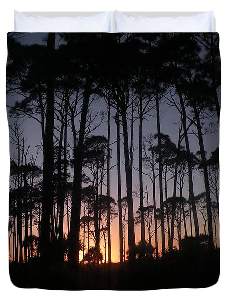 Sunset Thru The Pines II Duvet Cover