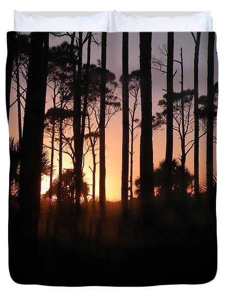 Sunset Thru The Pines IIi Port St Joseph Peninsula Duvet Cover