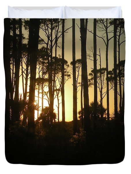 Sunset Thru The Pines Duvet Cover