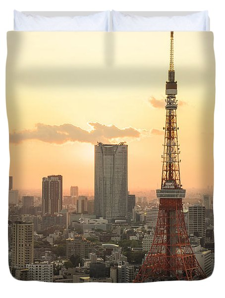 Sunset Tokyo Tower Duvet Cover by For Ninety One Days
