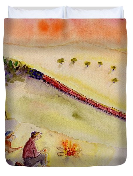 Sunset Train Duvet Cover