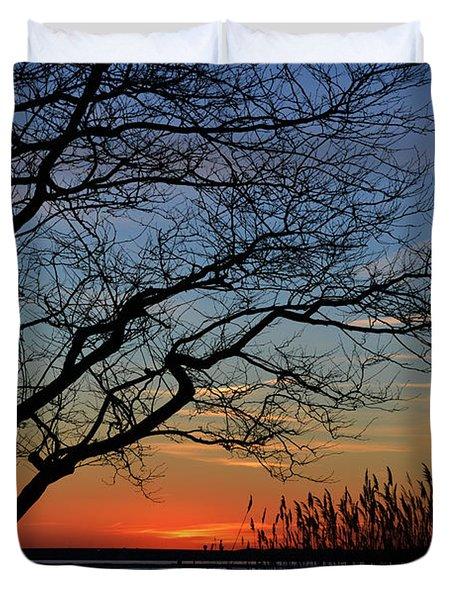 Sunset Tree In Ocean City Md Duvet Cover