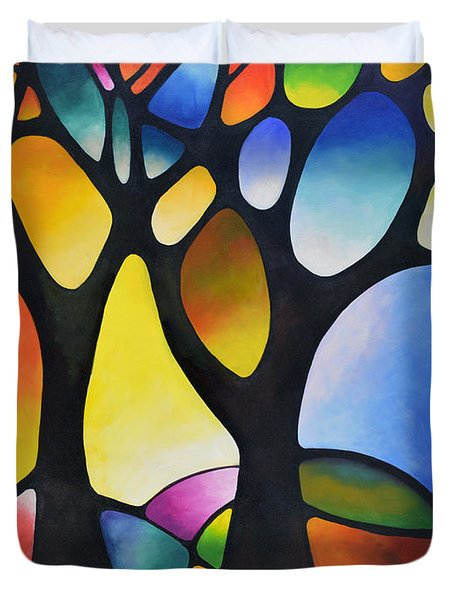 Sunset Trees Duvet Cover by Sally Trace