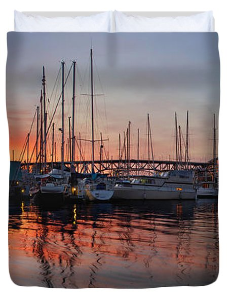 Duvet Cover featuring the photograph Sunset View From Charleson Park In Vancouver Bc by JPLDesigns