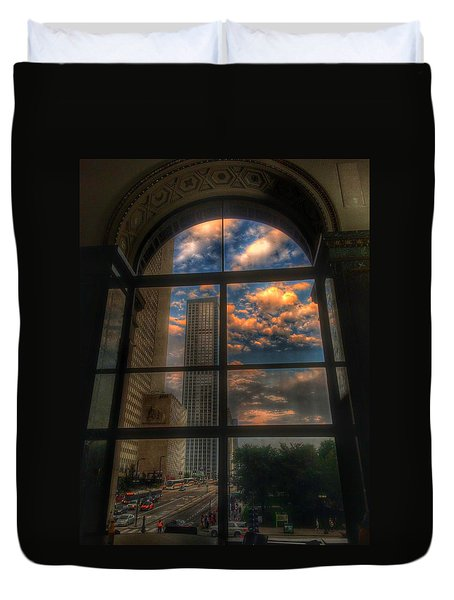 Sunset View Of Chicago Duvet Cover