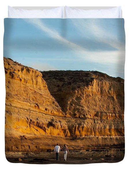 Sunset Walk At Flat Rock  La Jolla California Duvet Cover