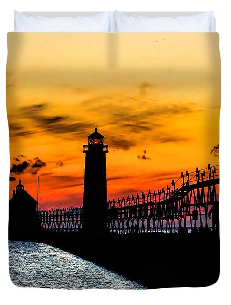 Sunset Walking On Grand Haven Pier Duvet Cover by Nick Zelinsky