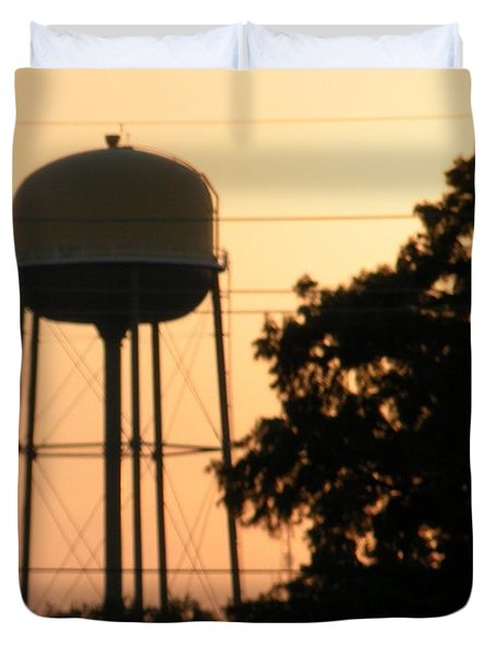 Sunset Water Tower Duvet Cover by Joseph Baril