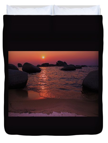 Duvet Cover featuring the photograph Sunset With A Whale by Sean Sarsfield