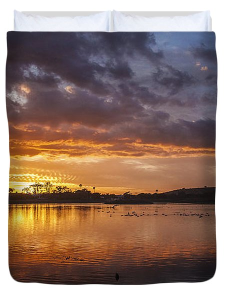 Sunset With Clouds Over Malibu Beach Lagoon Estuary Duvet Cover by Jerry Cowart