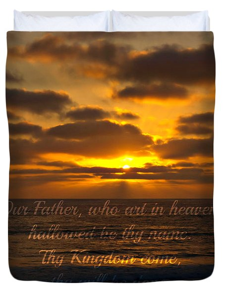 Sunset With Prayer Duvet Cover by Sharon Soberon