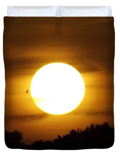 Sunset With Soaring Birds Duvet Cover by Keegan Hall