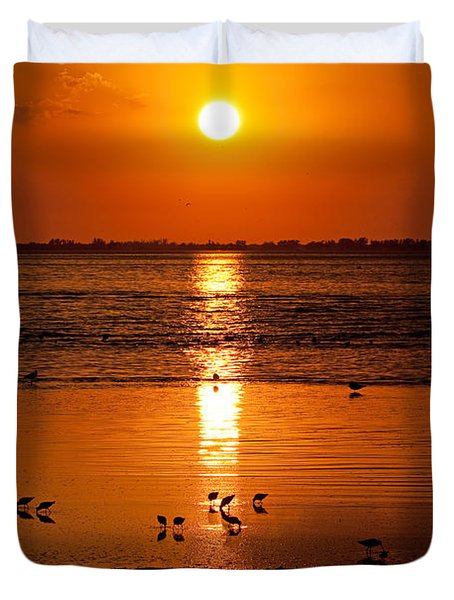 Duvet Cover featuring the photograph Sunset With The Birds Photo by Meg Rousher