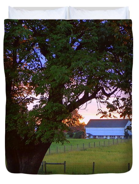 Sunset With Tree Duvet Cover