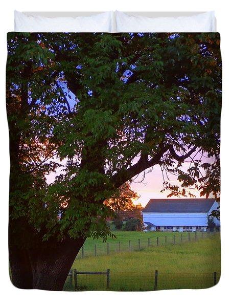 Sunset With Tree Duvet Cover by Joseph Skompski