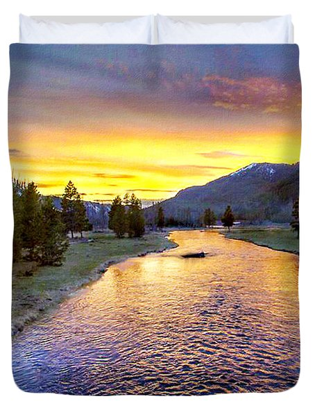 Sunset Yellowstone National Park Madison River Duvet Cover