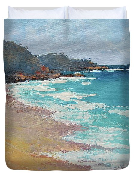 Duvet Cover featuring the painting Sunshine Beach And Lions Head Noosa Heads Queensland by Chris Hobel
