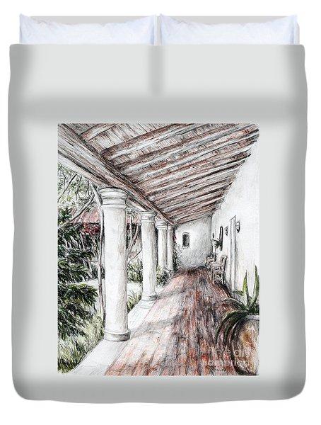 Sunshine On Portico Duvet Cover by Danuta Bennett