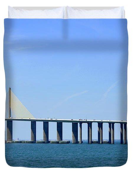 Sunshine Skyway Bridge II Tampa Bay Florida Usa Duvet Cover by Sally Rockefeller