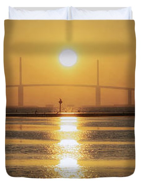 Duvet Cover featuring the photograph Sunshine Skyway Bridge Sunrise by Steven Sparks