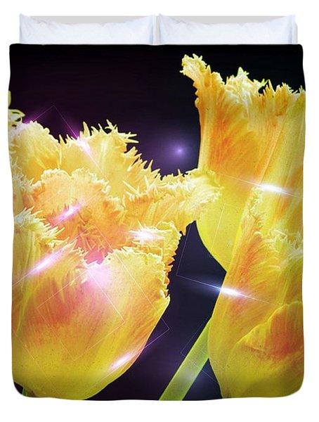 Sunshine Tulips Duvet Cover by Debra  Miller
