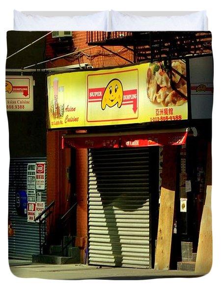 Super-dumpling - New York City Street Scene Duvet Cover by Miriam Danar