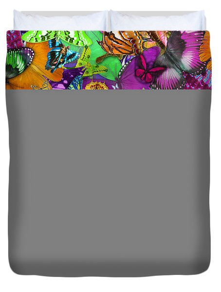 Super Rainbow Butterflies Duvet Cover by Alixandra Mullins
