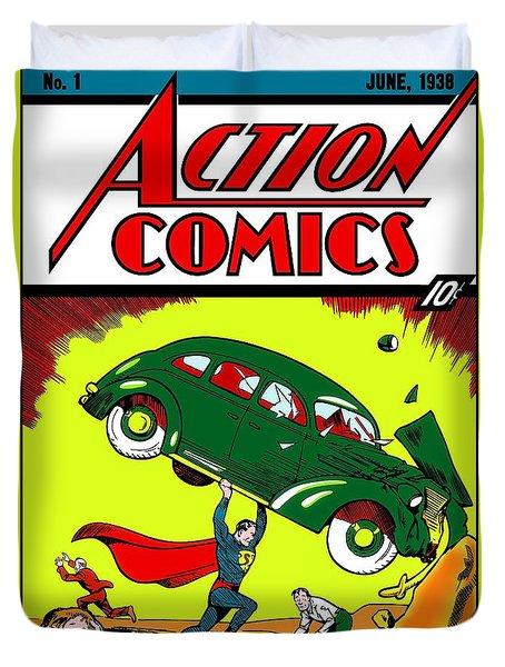 Superman Comic Book -1938 Duvet Cover by Doc Braham