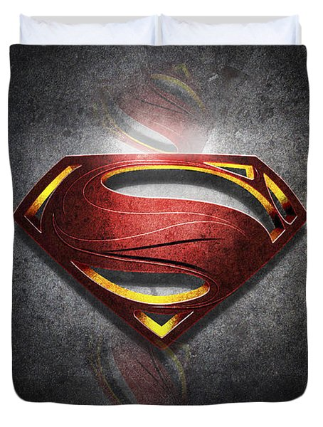 Superman Man Of Steel Digital Artwork Duvet Cover