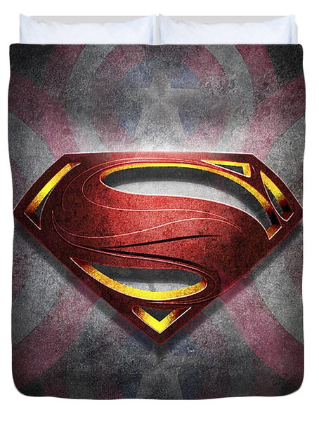 Superman Symbol Digital Artwork Duvet Cover