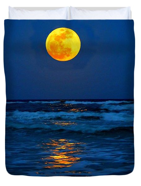 Supermoon Rising On Navarre Beach 20120505c Duvet Cover by Jeff at JSJ Photography