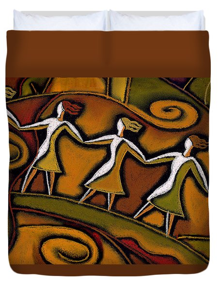 Duvet Cover featuring the painting Support by Leon Zernitsky