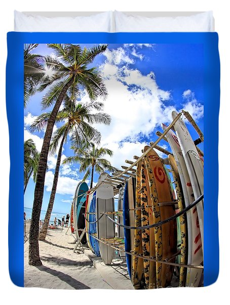 Surf And Sun Waikiki Duvet Cover