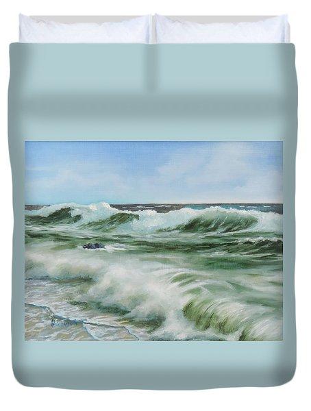 Surf At Castlerock Duvet Cover