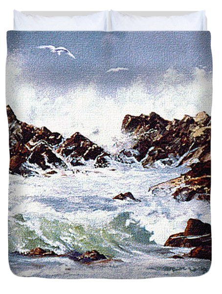 Duvet Cover featuring the painting Surf At Lincoln City by Craig T Burgwardt