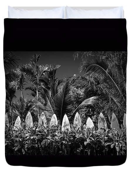 Duvet Cover featuring the photograph Surf Board Fence Maui Hawaii Black And White by Edward Fielding