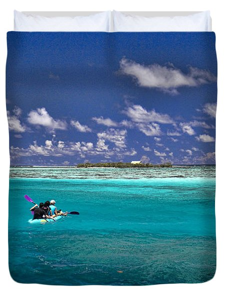 Surf Board Paddling In Moorea Duvet Cover by David Smith