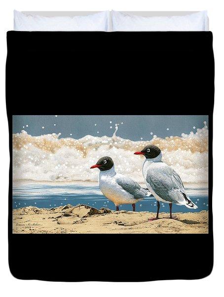 Surf 'n' Turf - Franklin's Gulls Duvet Cover by Frances McMahon