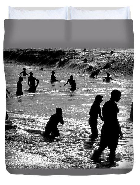 Surf Swimmers Duvet Cover by Sean Davey