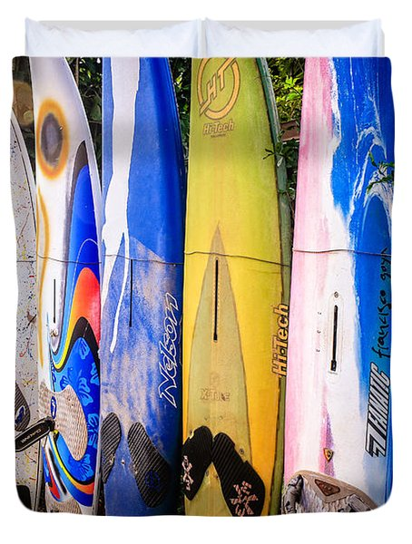 Surfboard Fence Maui Hawaii Duvet Cover