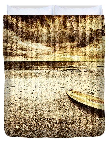 Surfboard On The Beach 2 Duvet Cover by Skip Nall
