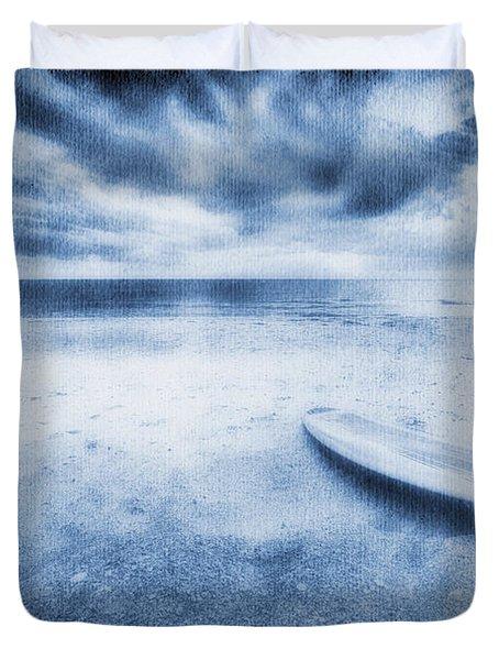 Surfboard On The Beach Duvet Cover by Skip Nall