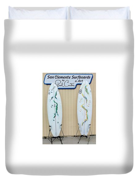 Surfboards In San Clemente Duvet Cover