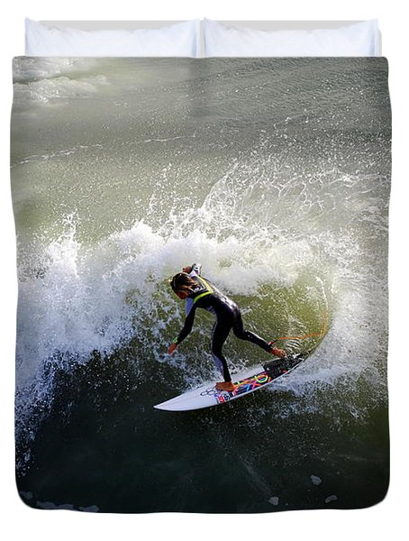 Surfer Boy Riding A Wave Duvet Cover by Catherine Sherman