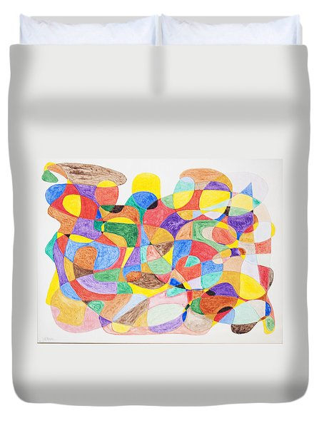 Duvet Cover featuring the painting Abstract Dance Party  by Stormm Bradshaw