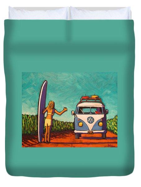 Surfer Girl And Vw Bus Duvet Cover