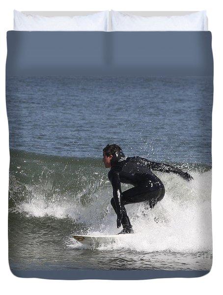 Surfer Hitting The Curl Duvet Cover by John Telfer